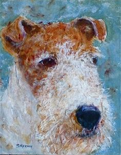 Wire+fox+Terrier+-+Looking+for+Home+-+Wirefox,+Dog,+Animal,+Art,+Painting,+Montana+Artist,+painting+by+artist+Sandra+Merwin