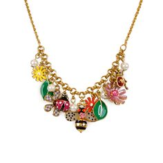 Little Black Bag | Garden Party Charm Necklace by Betsey Johnson :) So sweet :)