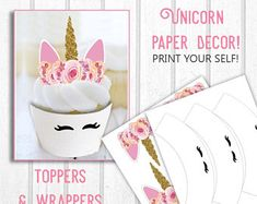 Printable Unicorn Cupcake Toppers and Wrappers, Unicorn Print Outs, Unicorn Party Decor, DIY Printouts, Unicorn Birthday Party
