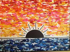 Sunrise over the water melted crayon art painting