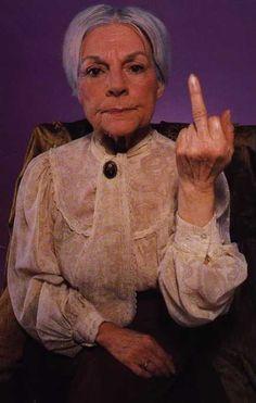 Granny giving the finger.