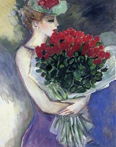 untitled woman with bunch of flowers by Jean-Pierre Cassigneul Art Français, Op Art, Figure Painting, Painting & Drawing, French Artists, Face Art, Beautiful Paintings, Art Forms, Art Images