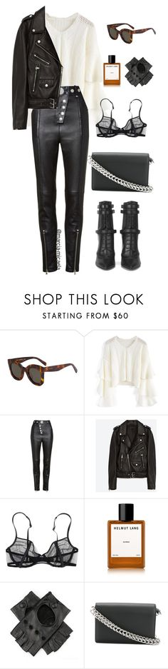 """• ALL LEATHER •"" by marcia-micaela ❤ liked on Polyvore featuring CÉLINE, Chicwish, Alexander Wang, Jakke, La Perla, Helmut Lang, Black and BOSS Hugo Boss"