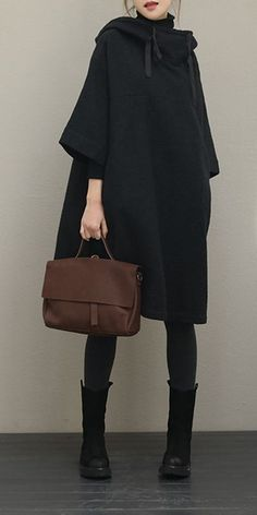 Black Hoodie Loose Cloak Dresses Women Cotton Linen Outfits Black Hoodie Loose Cloak Dresses Women Cotton Linen Outfits The post Black Hoodie Loose Cloak Dresses Women Cotton Linen Outfits appeared first on Beauty Shares. Mode Outfits, Fall Outfits, Casual Outfits, Fashion Outfits, Womens Fashion, Fashion Trends, Fashion Clothes, Casual Dresses, Woman Outfits