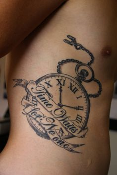 """Time waits for no-one"" means to me, don't sit around and wait for things to come to you, go and get them (ie. Follow your dreams and fight for them) The time on the clock is 11:11 (make a wish) which ties in with the meaning.  Done by Richard at Gravity Tattoos, Tauranga NZ."