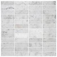 Stacked Carrara Marble Mosaic traditional bathroom tile for kitchen Marble Subway Tiles, Marble Mosaic, Carrara Marble, Mosaic Tiles, Calacatta, Modern Kitchen Tiles, Modern Vintage Bathroom, Contemporary Bathrooms, Kitchen Design