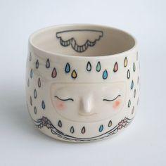 Art vessel, Rainbow rain thunderhead vase, 85 rainbow rain drops with sweet flowered flounce
