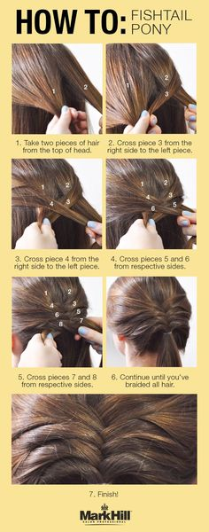Step up your simple pony for a glamorous look all day with this fishtail braid tutorial! Braided Ponytail Hairstyles, Fishtail Braids, Braided Hairstyles Tutorials, Hairstyles With Bangs, Trendy Hairstyles, Girl Hairstyles, Twisted Ponytail, Ponytail Easy, Hairstyles 2016