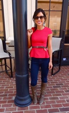 Casual peplum top with jeans and boots