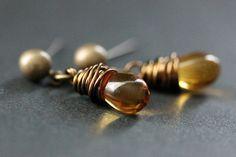 BRONZE Earrings - Goldenrod Amber Teardrop Earrings. Dangle Earrings. Post Earrings. Handmade Jewelry. by TheTeardropShop from The Teardrop Shop. Find it now at http://ift.tt/1rWnQLD!