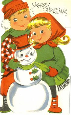 Vintage Christmas Card, Children and Snowman