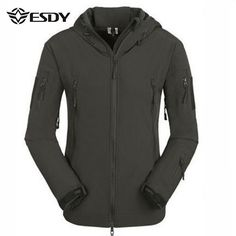 ESDY Mens Tactical Military Outdoor Waterproof Coat Softshell Outwear Concealed…