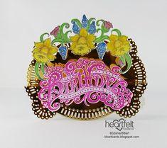 TWÓRCZY POKOIK by BBart: URODZINOWA RAMKA Double Dot, Heartfelt Creations, Flower Shape, Shades Of Blue, Pale Pink, Flower Arrangements, Dots, Scrapbooking, Paper Crafts