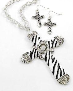 FW13A - Boutique Style Cross Pendant Necklace & Earring Set - Romans