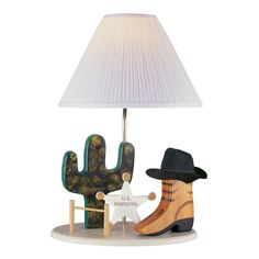 For your little cowboy. Complete with cactus, boot, and sheriff's badge! Lite Source Lighting Lite Source Lighting Cowboy Lamp Beige Table Lamp with Empire Shade | 3CB20106 | Destination Lighting