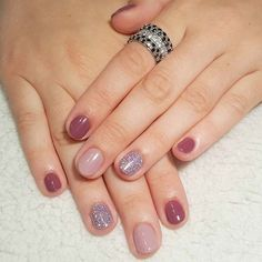 Purple Shades and Glitter for Elegant Nail Designs for Short Nails