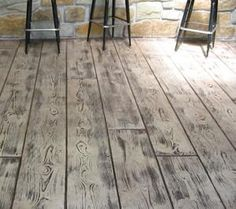 Wood Stamped Concrete Design For Outdoor Space - Onechitecture Wood Stamped Concrete, Stamped Concrete Designs, Stained Concrete, Polished Concrete, Concrete Patio, Concrete Stamping, Painted Concrete Floors, Porch Flooring, Basement Flooring