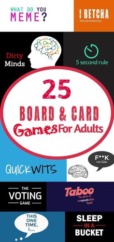 Make your next Game Night unforgettable with these Board and Card Games for Adults! Some nice, some naughty, and some just plain right outrageous. Do you have Quickwits, have you ever Slept in the Bucket or This one time at ____. For a couples nigh Couples Game Night, Board Games For Couples, Couple Games, Games For Ladies, Games For Teens, Adult Party Games, Adult Games, Fun Card Games, Fun Games