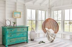 Photographed by Sean Litchfield Eclectic Bedroom Design White Rooms, White Walls, Pod Chair, Bedroom Chair, Bedroom Pics, Bedroom Swing, Master Bedroom, Bedroom Beach, Bedroom Corner
