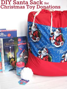 DIY Christmas sewing craft - Santa Sack - Organized 31  #NorthPoleFun #Ad  An easy sewing project to make holiday reusable gifts.