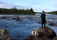 Girl and beagle: White-water fishing in Lapland. #travelscandinavia www.kiviluoma52.me