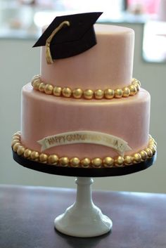 college graduation cakes for females | gorgeous graduation cake! In real with the gold accents for his school ...