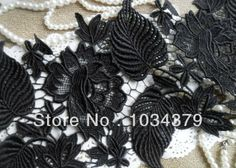 2Yds Free Shipping Handmade DIY Flower Venise Embroidery Black Lace Trim US $11.68