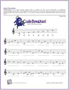 CodeBreaker! | Treble Clef Note Name Worksheet - http://makingmusicfun.net/htm/f_printit_free_printable_worksheets/codebreaker-treble-clef-worksheet.htm