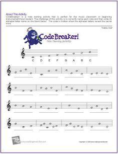 CodeBreaker! | Treble Clef Note Name Worksheet - http://makingmusicfun.net/htm/f_printit_free_printable_worksheets/codebreaker-treble-clef-worksheet.htm