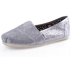 Toms outlet online $17.95 Toms Glitter Women Shoes Silver