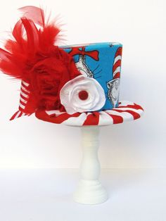 Mini Top Hat Headband, Alice in Wonderland themed Tea Party, CAT In The HAT, Birthday, Costume, Photo Prop, from Truly Sweet Circus. $22.95, via Etsy.