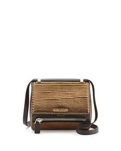 Pandora Metallic Woven Faux-Leather Mini Satchel, Gold by Givenchy at Neiman Marcus.