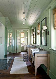 Calming green bathroom decor.