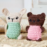 Boo-boo Buddies Ice Packs - #Crochet this cute #bunny and #bear, then fill them with dried beans and use them as ice packs for bumps and bruises!