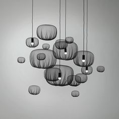 Static Bubbles by Nendo http://nendo.jp/ - Reminds me of bobbing jellyfish dancing through the water. These shapes are a wondering starting point to a future project using the shapes of LED, florescent, and incandescent bulbs. I think these bubble would do an excellent job framing or un-framing each bulb.