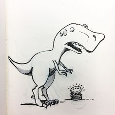 Inktober Day 4: HUNGRY Stewart picked the wrong day to abandon his animal instincts and eat hamburgers off the floor like a civilized man. #inktober #inktober2016 @artistsnetwork @inktober #trex #dinosaur #hamburger