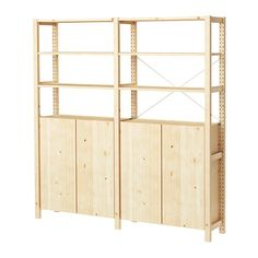 IVAR 2 Section Shelving Unit W/cabinet, Pine. Basement StorageGarage Storage  UnitsIkea ...