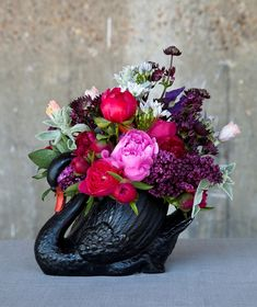Scarlet & Violet design using the British peony at New Covent Garden Flower Market during British Flowers Week 2013