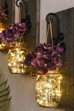 Pot Mason Diy, Rustic Mason Jars, Mason Jar Crafts, Mason Jar Lanterns, Mason Jar Lighting, Mason Jar Lamp, Mason Jar Fairy Lights, Mason Jar Glasses, Lantern With Fairy Lights