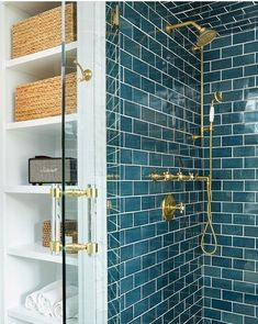 Love this color tile. Love it with the brass. Love this color tile. I love the brass. Bathroom Renos, Bathroom Interior, Bathroom Fixtures, Modern Bathroom, Fancy Bathrooms, Zen Bathroom, Eclectic Bathroom, Brass Bathroom, Remodel Bathroom