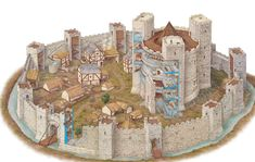 Round keep and castle Fantasy City, Fantasy Castle, Fantasy Map, Fantasy World, Medieval Life, Medieval Castle, Historical Architecture, Ancient Architecture, Castle Illustration
