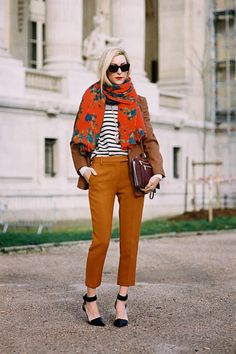 scarf & stripes & blazer