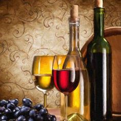 Perfect décor for any wine enthusiast or connoisseur, this canvas comes ready to hang and adds a rich backdrop to every setting. Grape Painting, Wine Painting, Bottle Painting, Wine Wall Decor, Dining Room Wall Decor, White Wine, Red Wine, One Glass Of Wine, Cheese Art
