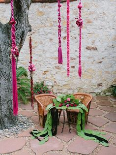 Fresh flower and macrame hanging installments.
