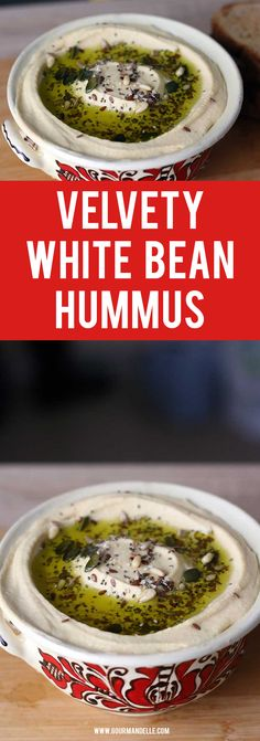 This white bean hummus recipe is even better than the traditional chickpea hummus! It's velvety smooth and has an incredible taste! Recipes Appetizers And Snacks, Vegan Appetizers, Vegetable Recipes, Vegetarian Recipes, Healthy Recipes, Fun Recipes, White Bean Hummus, Healthy Afternoon Snacks, Gourmet