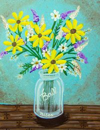 Country Bouquet in a Ball jar canvas painting party design. #socialartworking