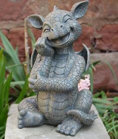 Gartenfigur-Drache-stuetzt-Kinn-Frostfest-Torwaechter-Gargoyle-NEU Dragon Tail, Fire Dragon, Dragon Project, Dragon Garden, Mermaid Man, Game Of Thrones Dragons, Polymer Clay Dragon, Baby Dragon, Mythological Creatures