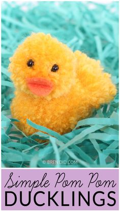 DIY Yarn Pom Pom Ducks for Simple Spring and Easter Crafting :: www.theMagicOnions.com