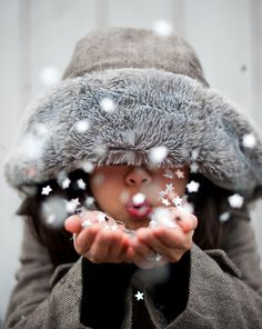 Idea for Christmas Photo Card Pose - put the kids in a winter coat plus hand fulls of fake snow or even some confetti would be so cute #Snow
