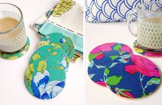 GroopDealz | Floral Oilcloth Fabric Coasters - Set of 4!